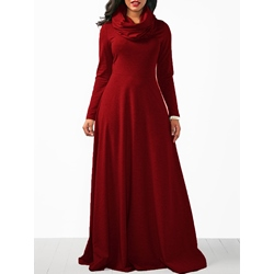 Heap Collar Fall Pocket Women's Maxi Dress