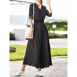 Travel Look Polka Dots Button Women's Maxi Dress