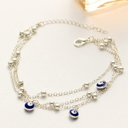 Blue Eye Design Beads Bohemian Anklets