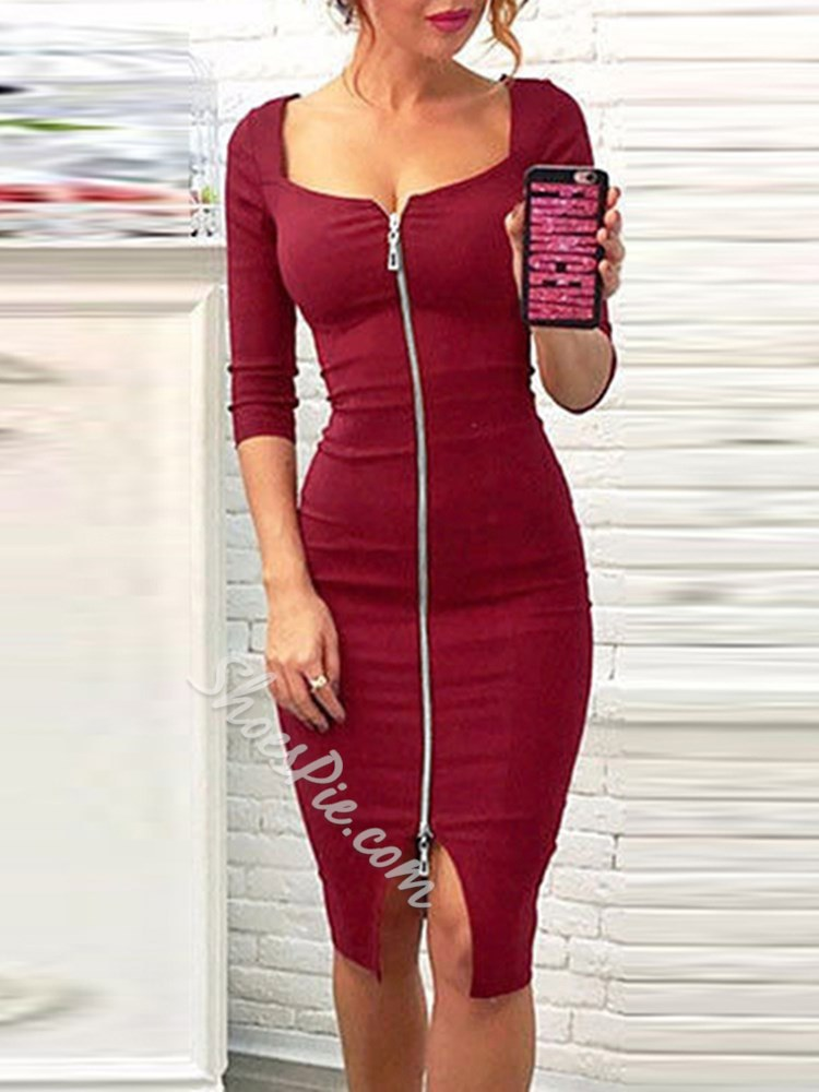 Knee-Length Plain Sexy Women's Bodycon Dress