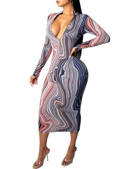Long Sleeve Print Pullover Women's Bodycon Dress