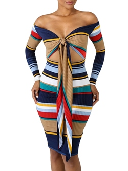 Slash Neck Stripe Sexy Fall Women's Bodycon Dress