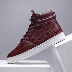 Shoespie Plain High Upper Lace-Up Men's Sneakers