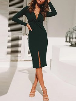 Long Sleeve Office Lady V Neck Women's Bodycon Dress