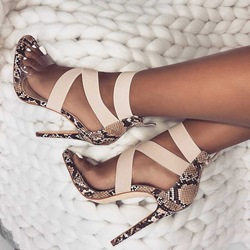 Shoespie Patchwork Zipper Stiletto Heel Sandals