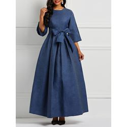 Denim Plain Simple Women's Maxi Dress