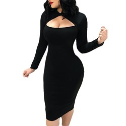 Hollow Fall Plain Sexy Women's Bodycon Dress