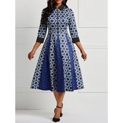 Color Block Polka Dots Vintage Women's A-Line Dress