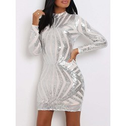 Stand Collar Sequins Sexy Women's Bodycon Dress