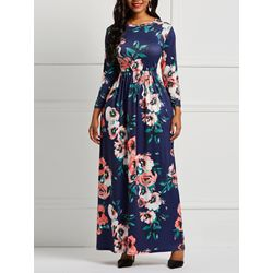 Floor-Length Floral Pocket Women's Maxi Dress