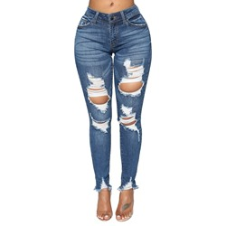 Plain Hole Slim Women's Jeans