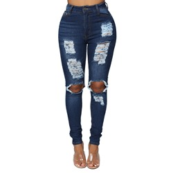 Pencil Pants Plain Hole Slim Women's Jeans