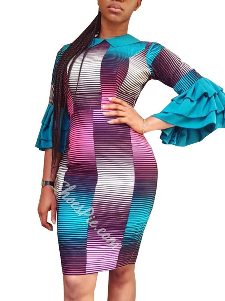 Stripe Gradient Falbala Women's Bodycon Dress