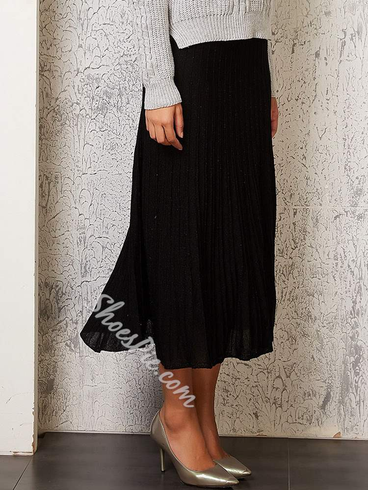 Plain Mid-Calf Pleated Fashion Women's Skirt