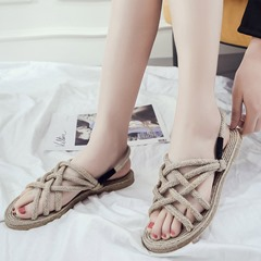 Shoespie Woven Slip-On Strappy Flat Sandals