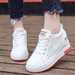 Embroidery Platform Lace-Up Wedge Sneakers