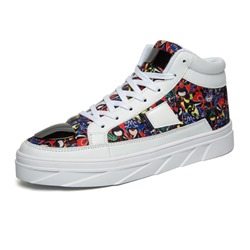 Color Block Lace-Up High Upper Men's Sneakers