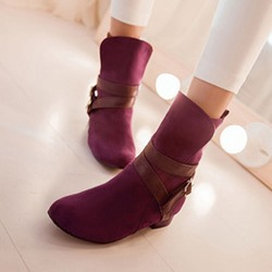 Shoespie Buckle Slip-On Ankle Boots