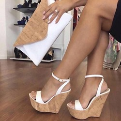 9b7438ff4239 Ankle Strap Platform Line-Style Buckle White Wedge Sandals