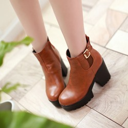 Platform Buckle Side Zipper Ankle Boots