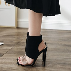 Shoespie High Upper Ankle Strap Black Stiletto Heel Sandals