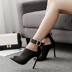 Black Buckle Peep Toe High Upper Stiletto Heels