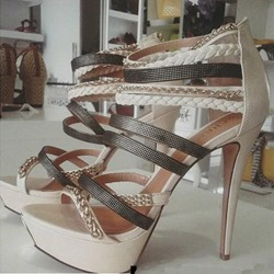 Light Apricot Chain Open Toe Stiletto Heels