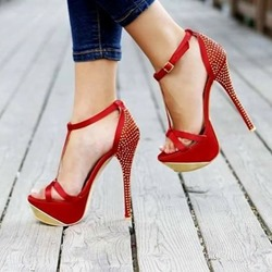 Rhinestone Red T-Shaped Buckle Stiletto Heels