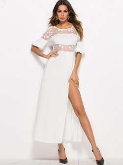 Shoespie Elegant Lace Split Women's Maxi Dress