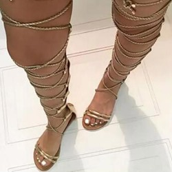 Lace-Up High Shaft Golden Gladiator Sandals