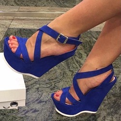 Shoespipe Blue Platform Buckle Wedge Heels