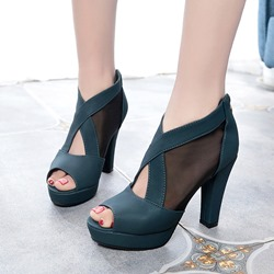 Shoespie Platform Zipper Peep Toe High Heels
