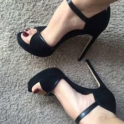 Suede Sexy Black Open Toe Stiletto Heels