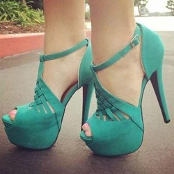 Green Buckle Suede Casual Stiletto Heels