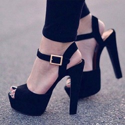 Black Ankle Strap Peep Toe Sexy High Heels