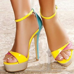 Yellow Line-Style Buckle Platform Stiletto Heels