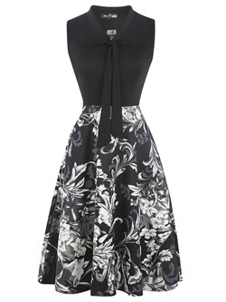Shoespie Patchwork Print Bowknot Women's A-Line Dress