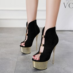 Shoeapie Sequin Sexy Peep Toe Black Stiletto Heels