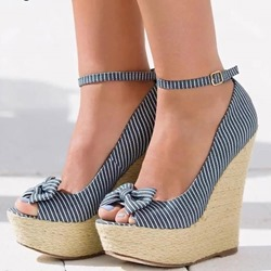 Blue Stripe Bow Line-Style Buckle Peep Toe Wedge Heels