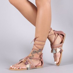 Fringe Thong Laec Up Heel Covering Flat Sandals