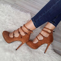 Brown Buckle Zipper High UpperStiletto Heels