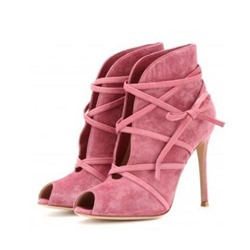Pink Peep Toe Lace-Up High Upper Stiletto Heels