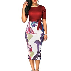 Shoespie Color Block Patchwork Print Women's Bodycon Dress