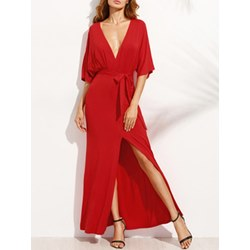 Shoespie Plain Belt Split Women's Maxi Dress