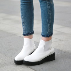 Shoespie Rivet Slip-On Round Toe Ankle Boots