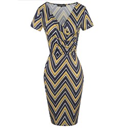 Shoespie Pleated V Neck Women's Pencil Dress
