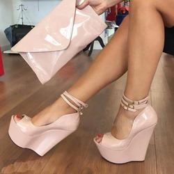 Shoespie Peep Toe Line-Style Buckle Wedge Heels