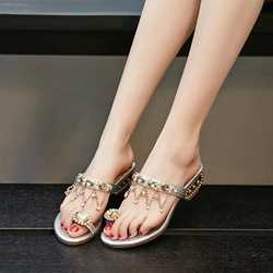 Shoespie Rhinestone Plain Toe Ring Mules Shoes