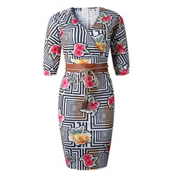 Shoespie Cotton Blends V Neck Print Women's Bodycon Dress