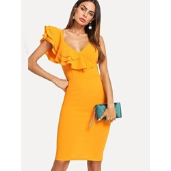 Shoespie Plain V-Neck Falbala Women's Bodycon Dress